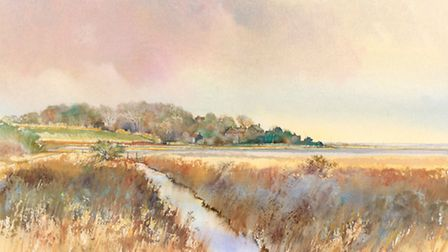 A watercolour painting of Cley by John Hurst.