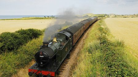 The North Norfolk Railway. Pictured: the steam train heading towards Weybourne from Sheringham.PHOTO