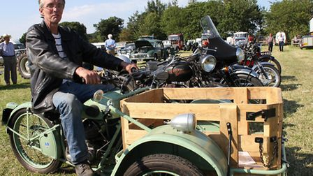 Peter Taylor, of Buxton, near Aylsham, with his 1951 Peugeot Model 55 TN Tricycle at last year's Sta