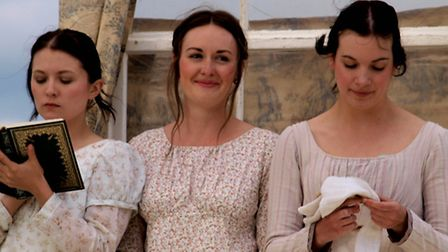 The Bennet girls in the outdoor performance of Pride and Prejudice.