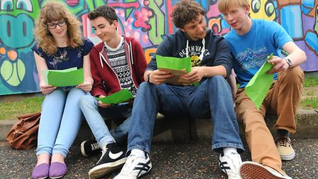 Sheringham High A-level results 2013. Left to right, Fern Kerrison, 18, Jamie Kowalyk, 18, Stephen R