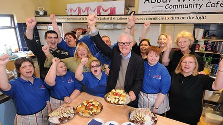 Norman Lamb MP helps launch the About With Friends cafe in Cromer.PHOTO: ANTONY KELLY