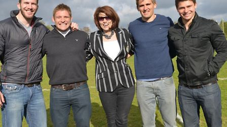 ALL-STAR LINE-UP: Penny Chapman poses for the camera on Saturday with a quartet of internationals wh