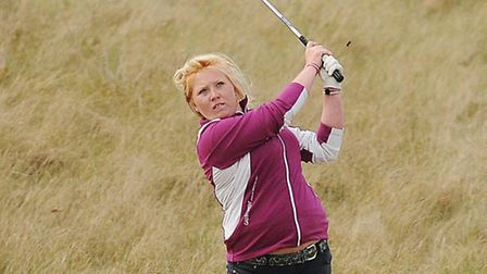 Amber Ratcliffe on her way to victory in the Norfolk Ladies County Association County Championship M
