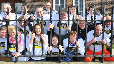 Community and business leaders from across Norfolk take part in the Jail & Bail charity fundraiser o