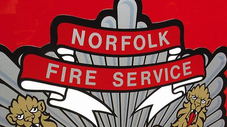 Brand new fire appliances (engines) outside county hall - Norfolk Fire Service badgePicture: James B