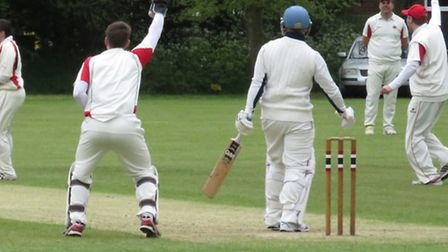 HOWZAT?: Action from Cromers defeat at Sprowston in the Norfolk Alliance on Saturday. Photo: LIZZY H