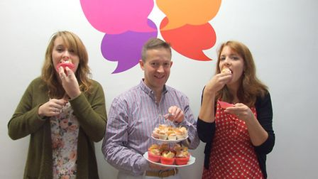 Benjamin Foundation butterfly cake bake off - Vicky Evans, Tony Ing and Pip Yaxley get a taste of th
