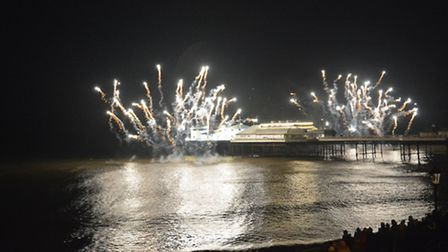 Cromer Pier New Year's Day fireworks. Picture; DAVE 'HUBBA' ROBERTS