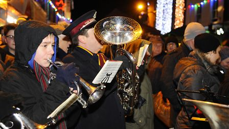 North Walsham Christmas Lights switch on in the Market Place. Picture: MARK BULLIMORE