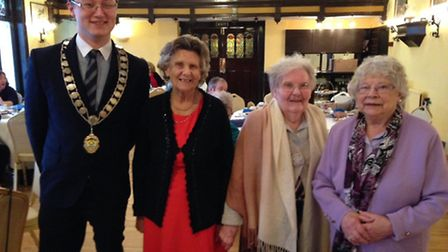 Cromer Mayor Tim Adams joina 94-year-old Olive Gibson and Eileen Bond and Joyce Blythe, both aged 88