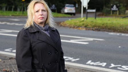 Karen Seaward at the junction on the A148 where her daughter Martha was killed. Campaigners are dem