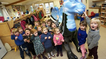 The Deep Blue Sea class of Suffield Park Nursery in Cromer with their 2015 GoGo dragon from Norwich