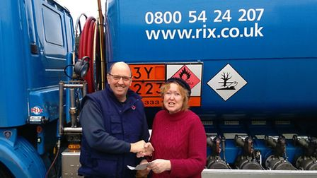 Jo Mortimer was the lucky winner of 500 litres of heating oil worth around £250 from Rix Petroleum (