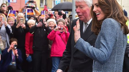 HRH The Duchess of Cambridge opens the new EACH charity shop in Holt, Norfolk.PHOTO: Nick Butcher