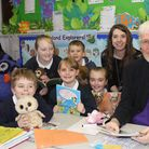 Holt Primary School teacher Bonnie Stocker and some of her pupils share animal-themed stories with F