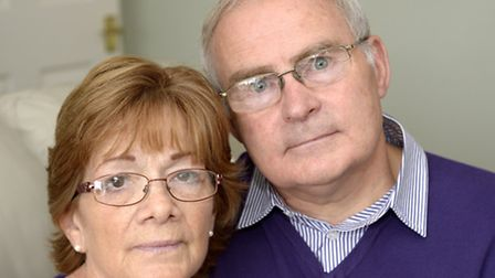 Tony and Christine Callaghan at their North Walsham home. Picture: MARK BULLIMORE