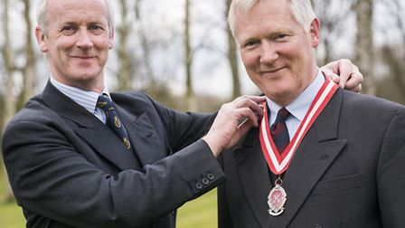 The new High Sheriff of Norfolk Sir William Cubitt with outgoing Sheriff Nicholas Pratt. Picture: Ma