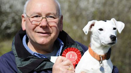 Tim Smith with his dog Teddy the most handsome dog winner from North Walsham.Picture: MARK BULLIMORE