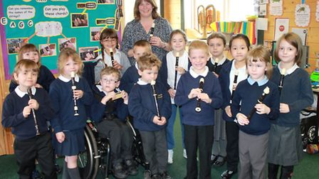 Year One teacher Simone Stoppani with her recorder group. Picture Karen Bethell