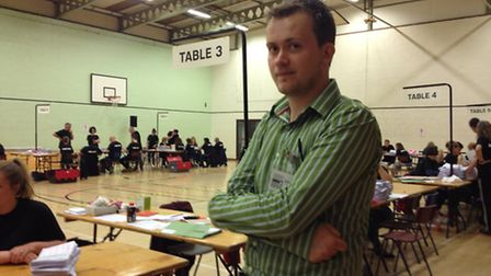 Jack Smith, co-ordinator of the Vote Leave campaign in North Norfolk, at the EU Referendum count in