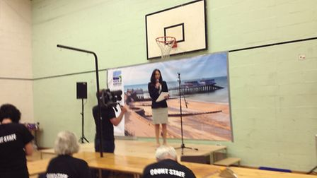 North Norfolk returning officer Sheila Oxtoby announces the result at the EU Referendum count in Nor