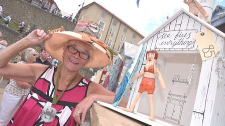 Hilary Cox, a president of the Cromer and Sheringham Crab and Lobster Festival, with one of the deco