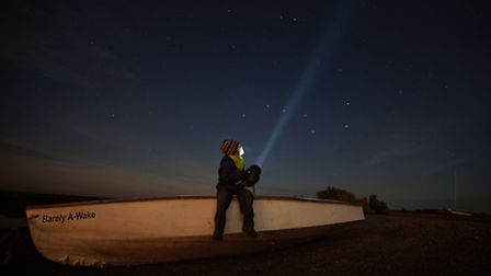 Me and my son, a keen photographer, star gazing at Blakeney. Picture by Brad Damms