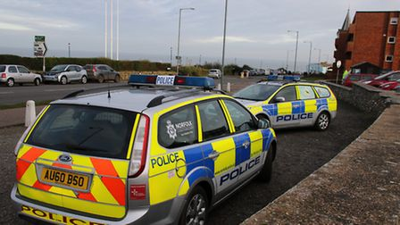 Up to ten police vehicles were spotted at Runton Road in Cromer on Sunday. Picture: ALLY McGILVRAY