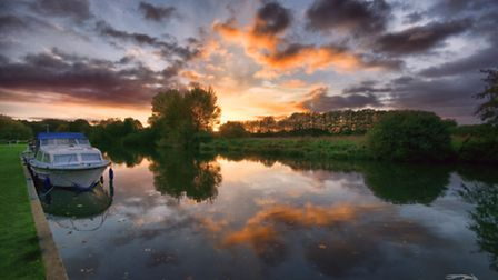 A sunset reflection on the Norfolk Broads. Photo by Chris Jarvis