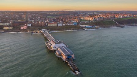 An aerial photograph of Cromer pier, town and seafront, taken with a DJI Phantom Pro 3 drone. Photo:
