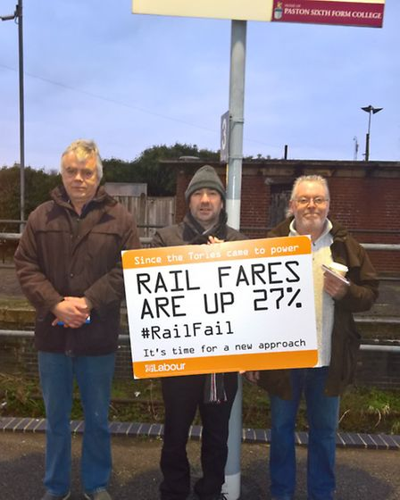 Rail campaigners protest against the increase in train fares at North Walsham station. Picture: STEP