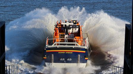 Cromer lifeboat being launched. Photo: Gail Barker