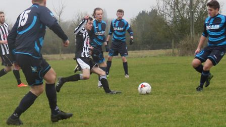 Trimingham Pilgrims on their way to an impressive 8-2 win over Aslacton and Moulton. Picture: Toni P