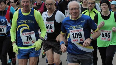 North Norfolk Beach Runners septugenarians Noel Spuce and Mike Marshall enjoying their run. Picture: