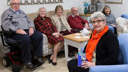 Writer Mary Mackie sharing some of her short stories with residents of Justice Court, Cromer. Pictur