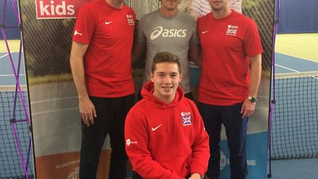 Andy Margerson pictured with Greg Rusedski, Leon Smith and Alfie Hewitt at the launch of the 2017 Te