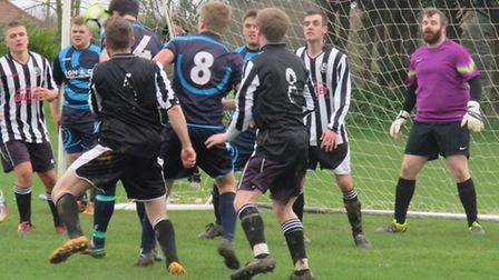 Action from Trimingham Pilgrims' exciting 4-3 win over Aslacton and Great Moulton in the Norwich Sun