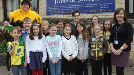 Cromer Junior School spelling bee competitors with deputy head teacher Suzanne Ashpole and aptlly-dr