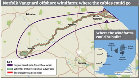 Vattenfall's search area for where undergound cables from the Vanguard and Boreas wind farms could g