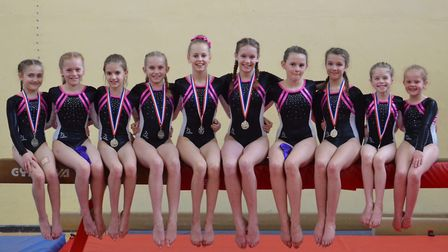 The North Walsham Gymnastic Club squad who performed with distincion at the UEA. Picture: North Wals