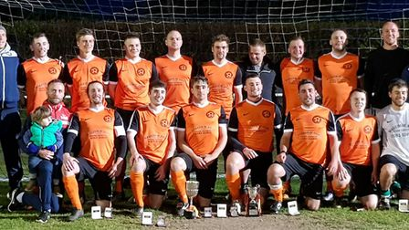 Runton United line up for the camera after winning the NEN League Division One Cup Final. Picture: