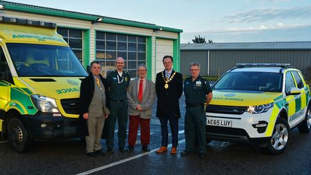 Cromer councillors Tim Adams and John Frosdick on a previous visit to the town's ambulance station.