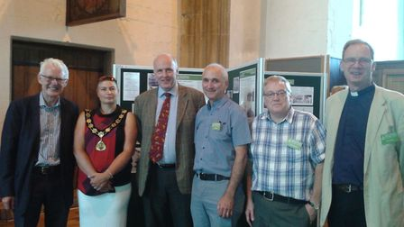 Launch of the heritage exhibition, L-R Norman Lamb, Sallie Stuckey, Tom FitzPatrick, Bob Wright, Gly