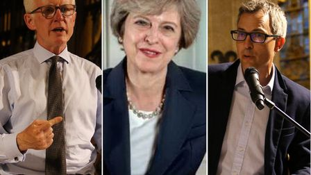 Conservative leader Theresa May (centre) has written a letter in support of party colleague James Wi
