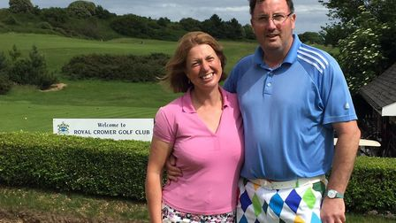 Paddy Mournian with Cromer Golf Club captain Jayne Jones. Picture: Cromer GC