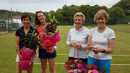 Winners of Cromer's charity tennis tournament Jane Ray and Sarah Wells (right) with beaten finalists