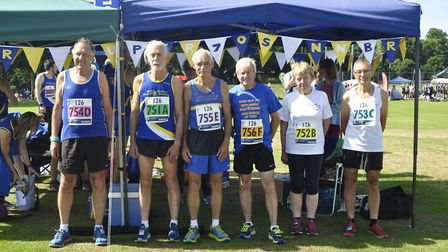 North Norfolk Beach Runners 70+ category winners SuperSeventiesToo. Pictured from left to right are