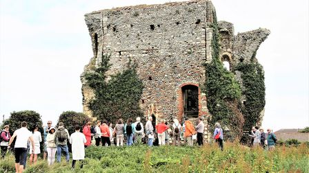 Visitors queuing to see the ruins of Bromholm Priory on its open day. Pictures: Maurice Gray