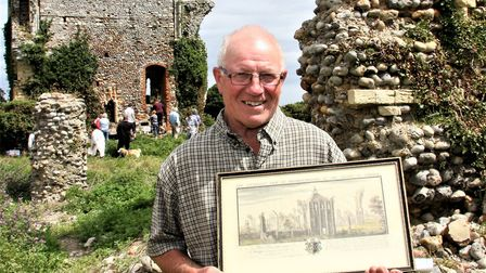 Bromholm Priory open day. David Siely with a print of the original priory. Picture: Maurice Gray